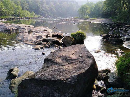 这个激流沟旁边有个大石头站人,上次就站石头高头看到清波戏水,又没有手车盘,只能看看,好捉急